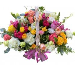 Basket of Spray Roses, Roses, Eustoma