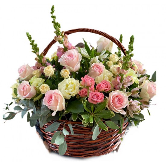 Basket of Roses, Spray Roses, Alstroemerias, Eustoma and Eucalyptus