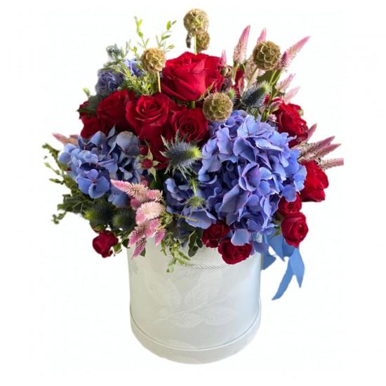 Box of Roses, Spray Roses, Hydrangeas