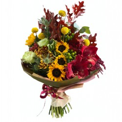 Bouquet of Sunflowers, Roses, Hypericum, Chrysanthemum