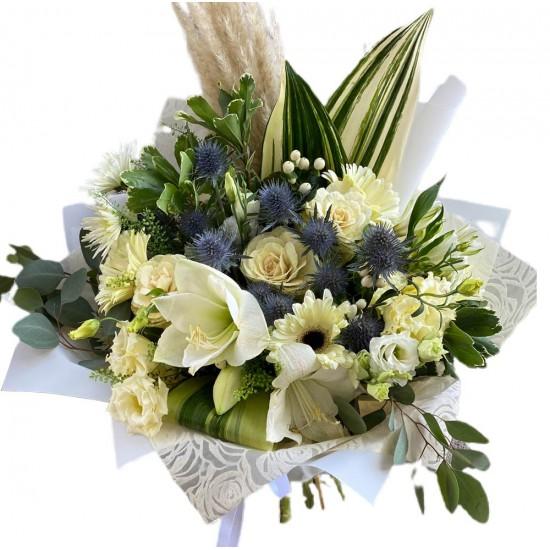 Bouquet of Gerberas, Eustoma, Brasica  and Greens