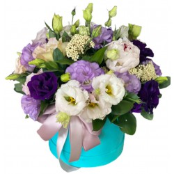 Box of Eustoma and greens