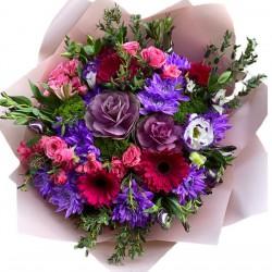 Bouquet of Brassica, Chrysanthemums, Eustoma, Gerberas, Spray Roses