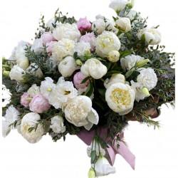 Bouquet of 29 Peonies,  Eustoma and eucalyptus
