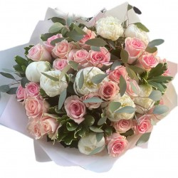 Bouquet of Peonies , Roses  and Eucalyptus