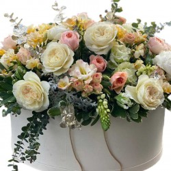 Huge box of David Austin Roses, Spray Roses, Eustoma, Fresca, Eucalyptus and Greens