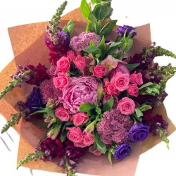 Bouquet of Hydrangea mini, Peonies, Spray Roses, Eustoma and Greens