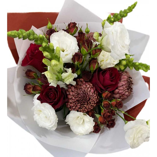 Bouquet of Chrysanthemums one head, Eustoma, Roses, Spray Roses