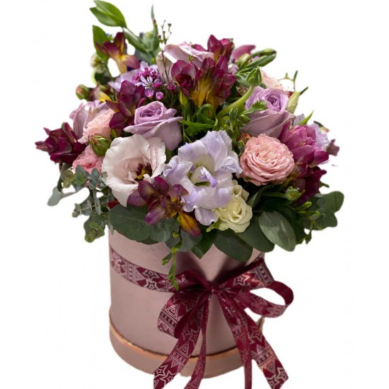Box of Spray Roses, Eustoma, Fresia and Greens