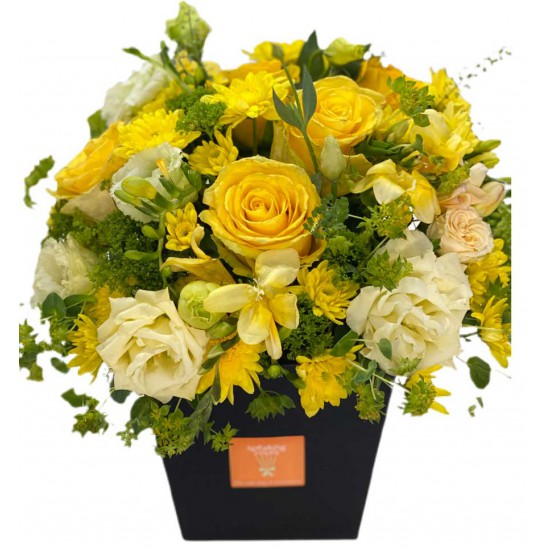 Box of Roses, Eustoma, Fresia, Chrysanthemums and Greens
