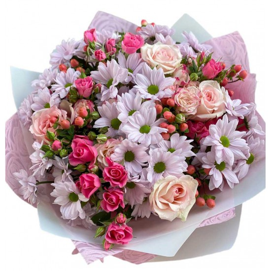 Bouquet with chrysanthemums, roses, spray roses, hypericum