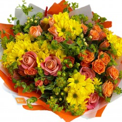 Bouquet of Roses, spray roses, Chrysanthemums, hypericum