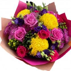 Bouquet of Chrysanthemums, Roses, hypericum, Eustoma