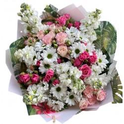 Bouquet of Chrysanthemums, spray roses, mattiola