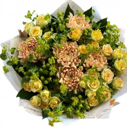 Bouquet of Chrysanthemums,  Hypericum and Spray roses