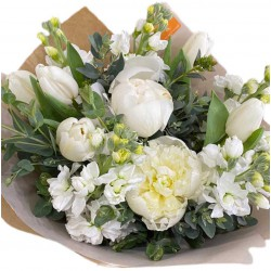 Bouquet of Tulip, Peonies,  Eucalyptus and Mattiola