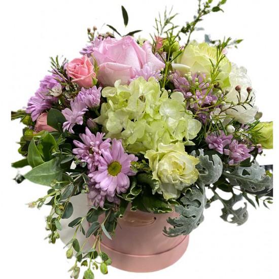 Box of Chrysanthemums, hydrangea  Roses, Eustoma, wax