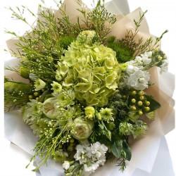 Bouquet  Hydrangea, roses, wax, chrysanthemums, mattiola, hypericum