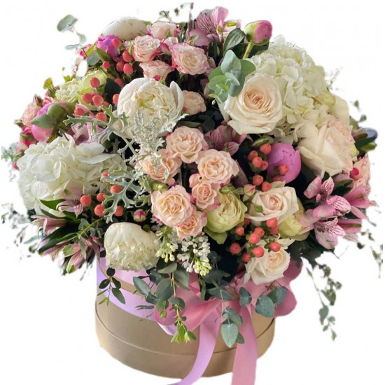 Box of Hydrangea, Peonies ,Roses, Spray roses, Hypericum,  Alstroemerias and Eucalyptus