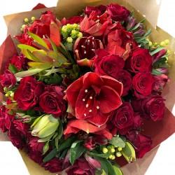 Bouquet of Red roses, Hypericum, Safari, Alstroemerias and Amaryllis
