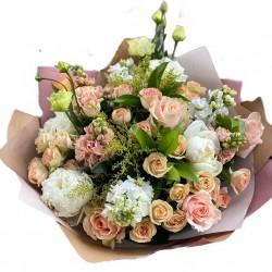 Bouquet of Roses, Spray roses,  Mattiola,  Eustoma &  Peonies