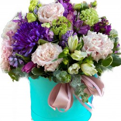 Box of Eustoma, Chrysanthemums, Alstroemerias, Eucalyptus, Mattiola, Tulips & Hyacinth