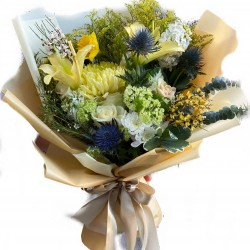 Bouquet with Lilies, White Roses, Wax, Chrysanthemums, Eucalyptus and Mattiola