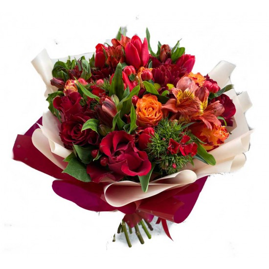 Red Bouquet with Roses, Alstroemerias, Tulips, Hypericum and Coronation