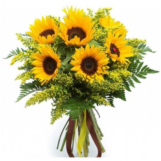 Bouquet of 7 Sunflowers and Solidago