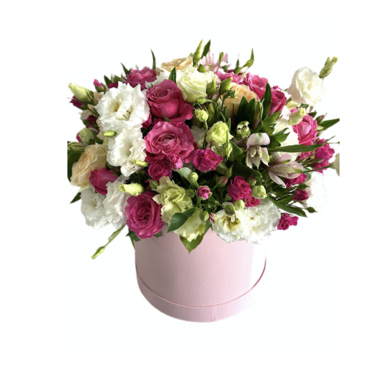 Box of Eustoma, Alstroemeria and Spray Roses