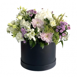 Box with Roses, Eustoma, Chrysanthemum and Alstroemeria