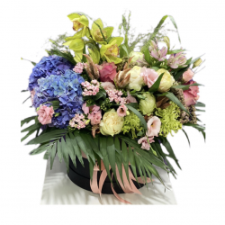 Box of Roses, Eustoma, Hydrangea, Bouvardia, Chrysanthemum, Alstroemeria and Cymbidium