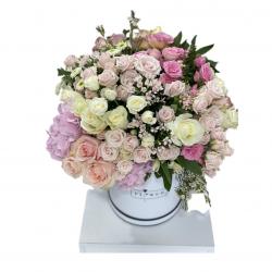 Box of Roses, Spray Roses, Bouvardia, Hydrangea, Wax and Greens
