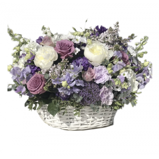 Basket of Roses, Chrysanthemum, Hydrangea