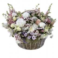 Basket of Roses, Chrysanthemum, Hydrangea, Alstroemeria