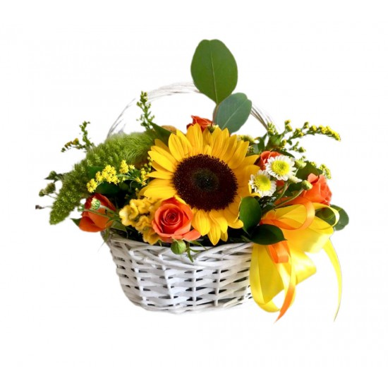 Basket  of Sunflower, Spray Roses, Chrysanthemum, Celosia and Greens