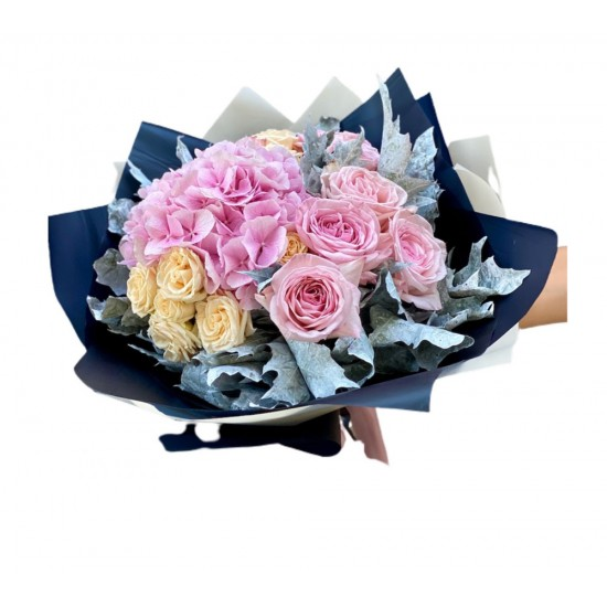 Mix of Spray Roses, Hydrangea and leaves