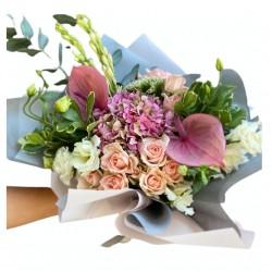 Bouquet of Hydrangea, Spray Roses, Eustoma, Anthurium