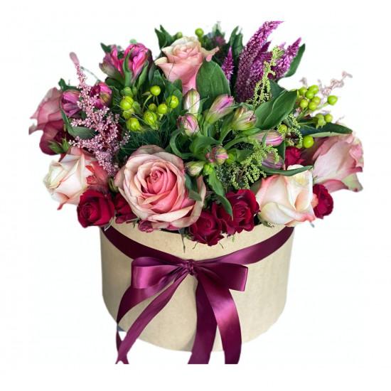 Box of Roses, Alstroemeria, Celosia, Hypericum