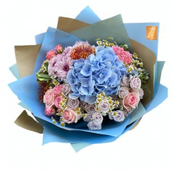Bouquet of Hydrangea, Spray Roses, Chrysanthemum