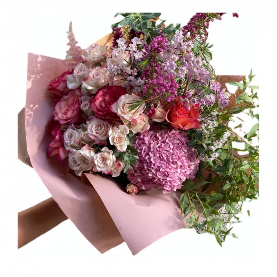 Bouquet of Small Hydrangea, Spray Roses, Roses, Wax, Eucalyptus