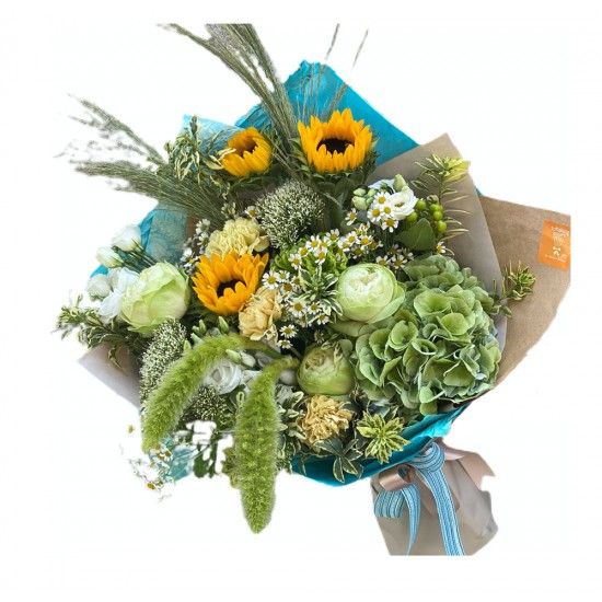 Bouquet of Sunflowers, Hydrangea, Chrysanthemum, Roses