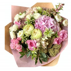 Bouquet of Hydrangea, Roses, Spray Roses, Greens