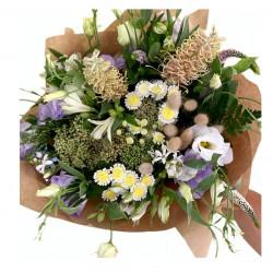 Bouquet of Eustoma, Chrysanthemum, Greens