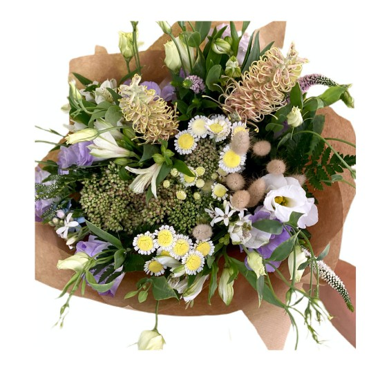 Bouquet of Eustoma, Chrysanthemum, Greens