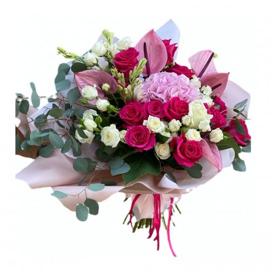 Bouquet of Hydrangea, Roses, Spray Roses, Eucalyptus, Anthurium