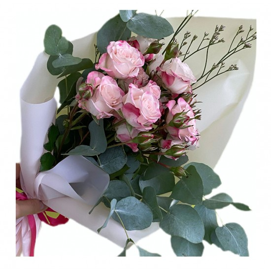 Bouquet of Spray Roses, Eucalyptus