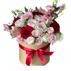Box of Roses, Eustoma, Spray Roses