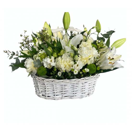 Basket of Lilly, Peonies, Eustoma, Santini, Chrysanthemum