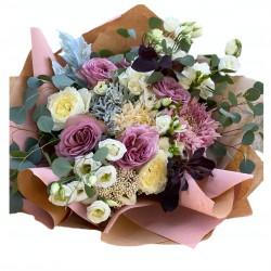 Bouquet of Roses, Eustoma, Chrysanthemum, Silver, Eucalyptus